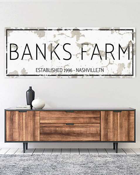 Modern Farmhouse Last Name Sign - Personalized Family Name Wall Art