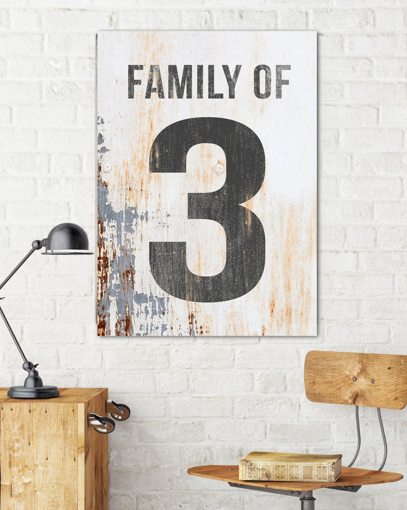 Family of 3 Number Sign - Family of Canvas Print Wall Art