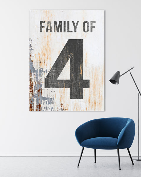 Family of 4 Number Sign - Family Number Sign Wall Art Canvas Print