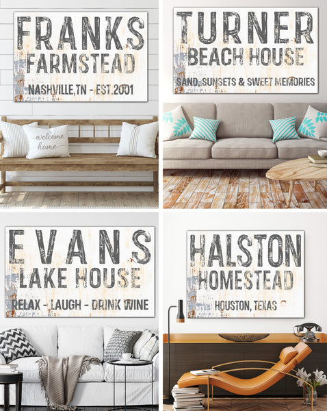 Personalized Family Established Signs Canvas Wall Art