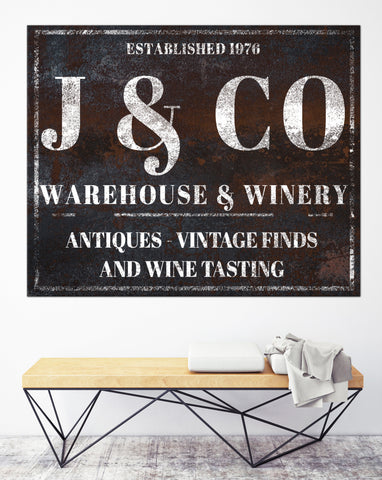 Custom Winery Name Sign - Personalized Established Sign Canvas Art