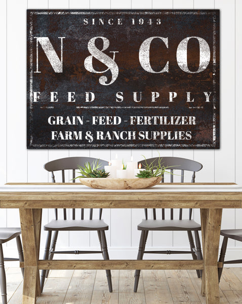 Vintage Farmhouse Decor Name Sign Canvas Wall Art