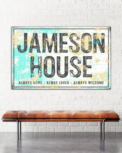 Personalized Farmhouse Home Sign Canvas Wall Art