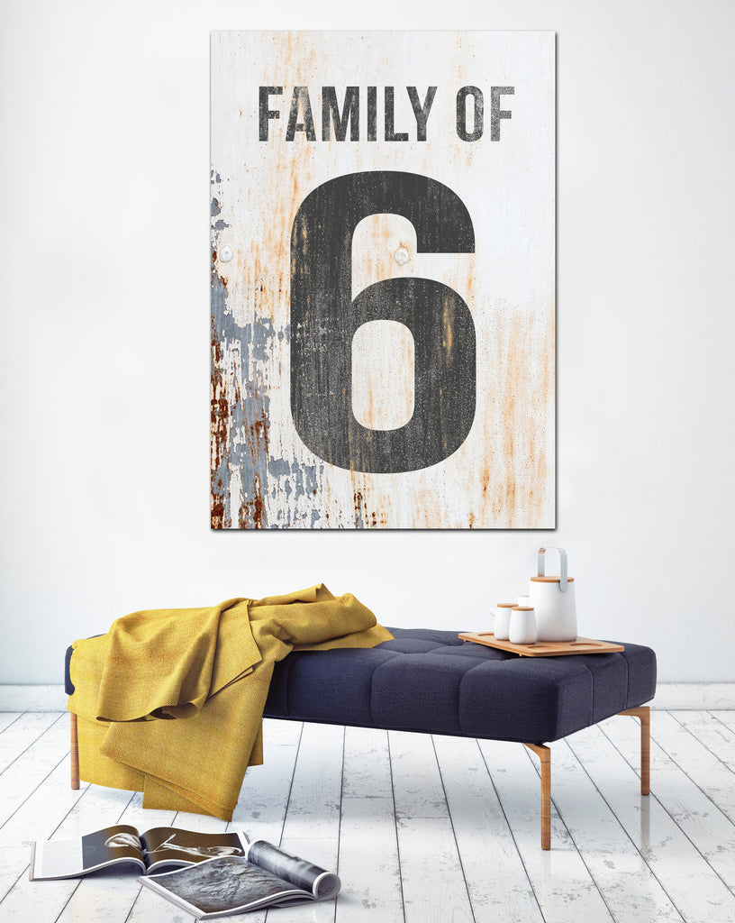 Family of 6 Number Sign - White Number Sign Vintage Sign Canvas Print