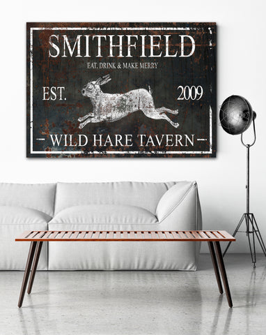 Wild Hare Personalized Last Name Sign Vintage Signs - Canvas Prints Wall Art