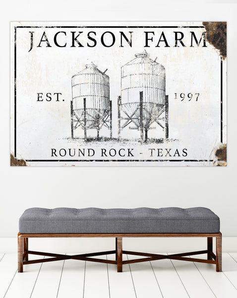 Customized Metal Sign - Silo Farm Vintage Metal Sign for Outdoors - Last Name Sign