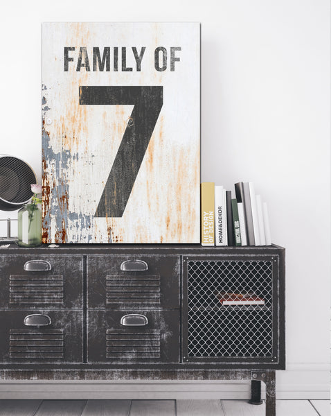 Family of 7 Number Sign - White Number Sign Canvas Wall Decor