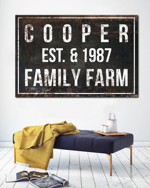 Rustic Established Signs - Personalized Name Sign Wall Decor Canvas Prints