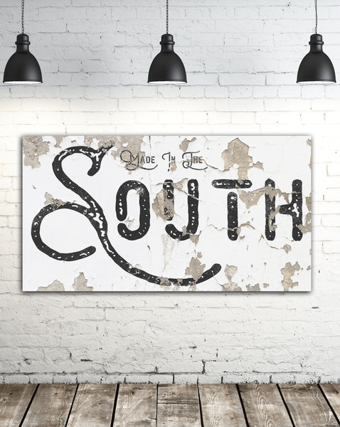 Made in the South - Modern Farmhouse Home Decor Wall Art - Chippy Sign