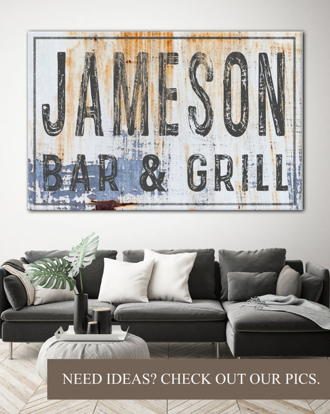 Personalized Large Name Sign - Industrial Farmhouse Wall Art Bar Sign