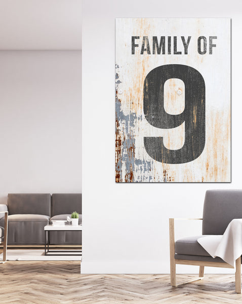 Family of 9 Number Sign - White Canvas Print Number Sign Wall Art