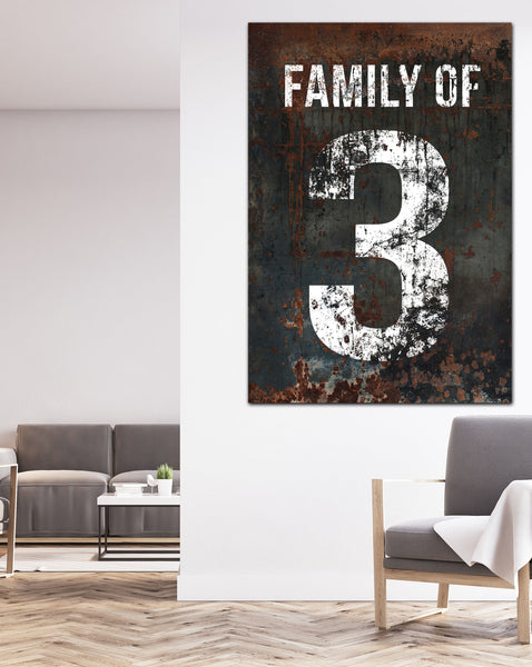 Black Family Number 3 Sign - Canvas Print Walls Art