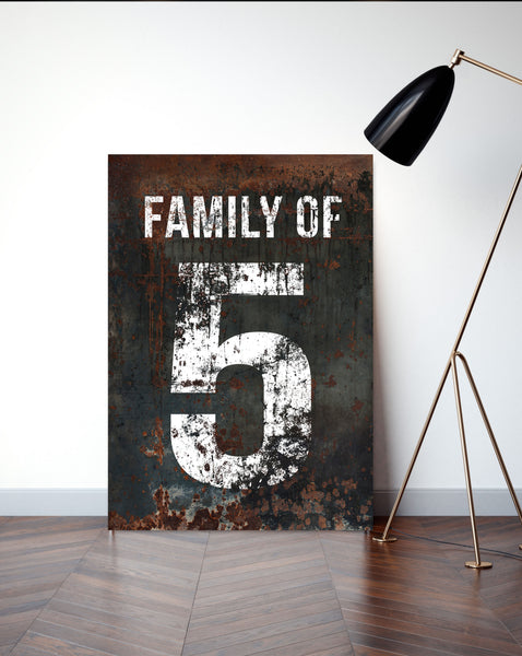 Farmhouse Decor Canvas Wall Art Family of Sign