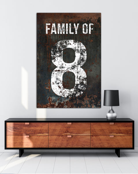 Black Family Number 8 Sign - Home Decor Wall Art Canvas Art