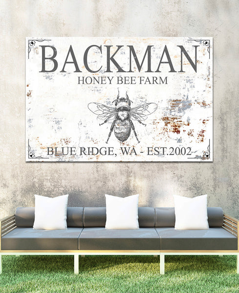 Honey Bee Farm Metal Outdoor Personalized Wall Art Garden Sign