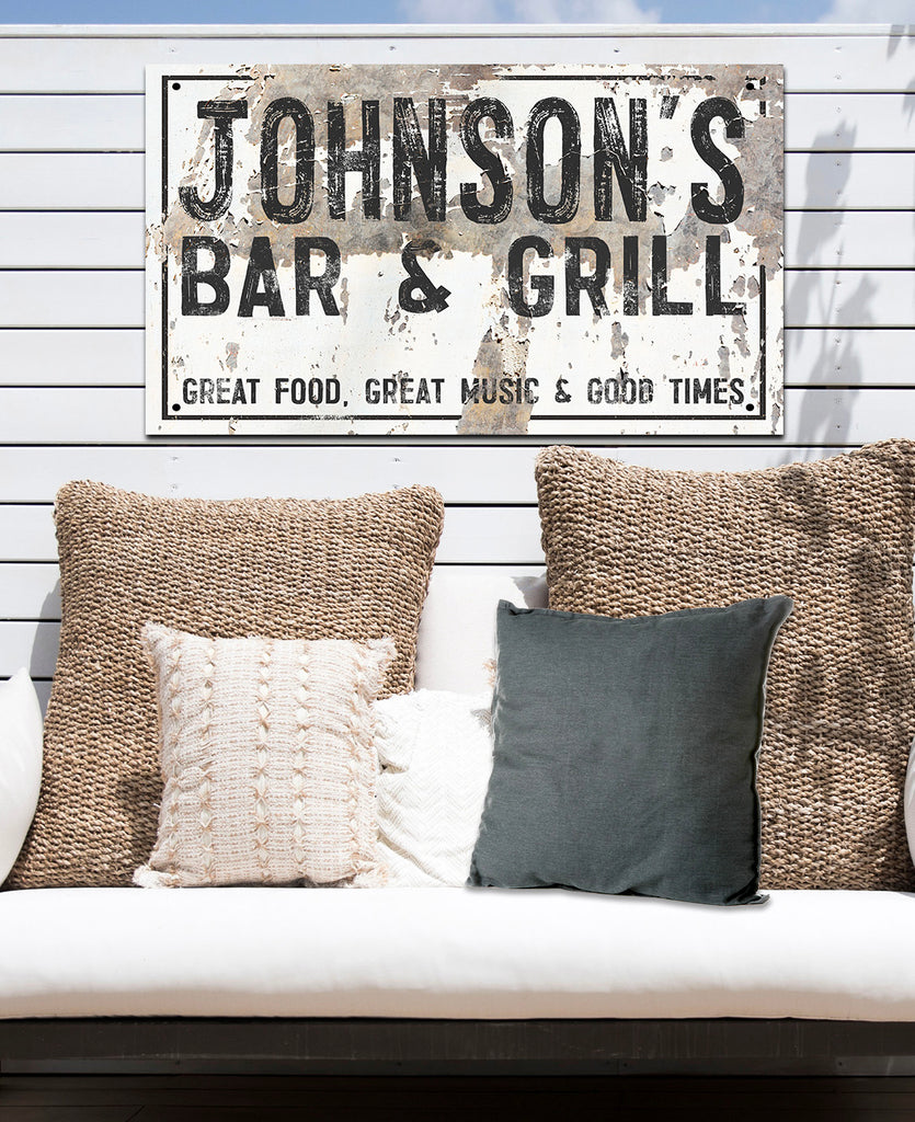 Personalized Outdoor Sign  - Bar & Grill Metal Sign - Last Name Sign