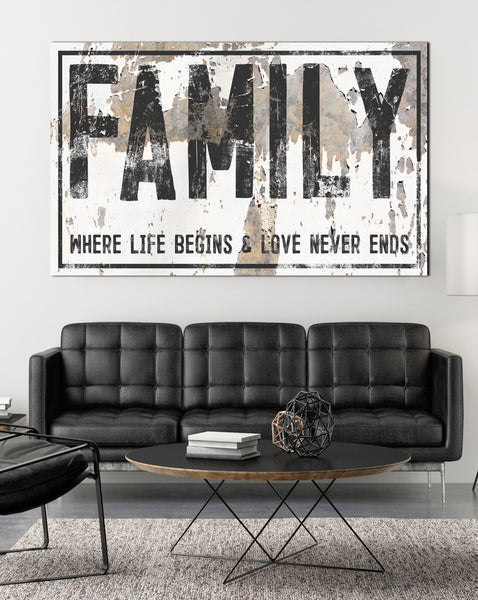 Family Sign -  Where Life Begins Farmhouse Wall Art - Farmhouse Decor Wall Art Canvas Prints