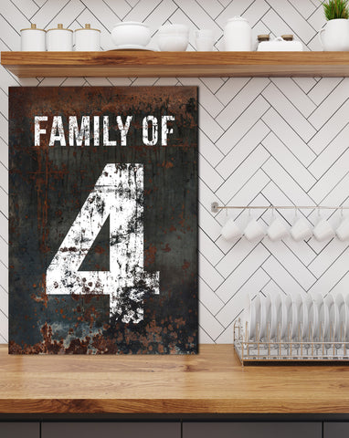 Modern Farmhouse Family Number Sign - Industrial Farmhouse Living Room Wall Decor Canvas Art