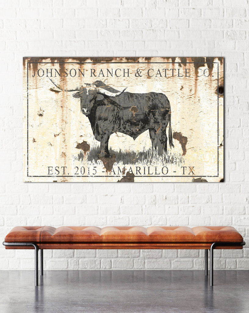 Farmhouse Family Name Sign - Modern Farmhouse Cow Sign