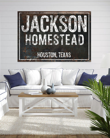 Personalized Homestead Farmhouse Black Metal Style Canvas Art NLSC1203