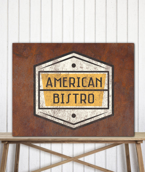 Rusted Metal Look Canvas Art Print Logo Sign - LT13