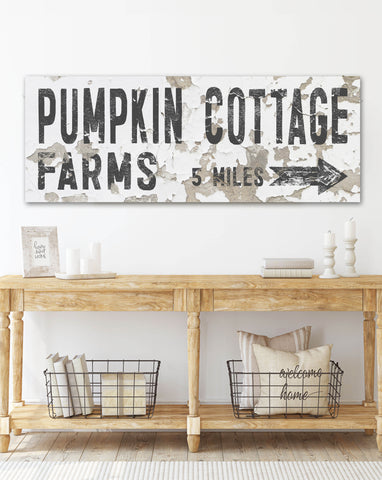Chippy White Pumpkin Cottage Fall Wall Art Canvas Print - LC53