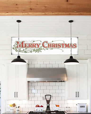 Merry Christmas Farmhouse Sign - Christmas Sign Wall Art