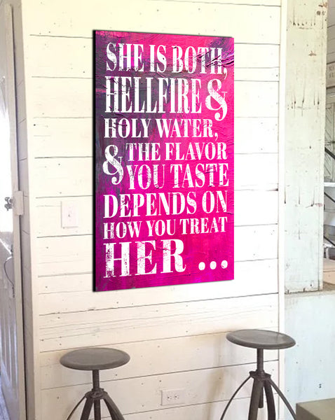 Modern Farmhouse Wall Art - She is Hellfire - Inspirational Quote Canvas Wall Art