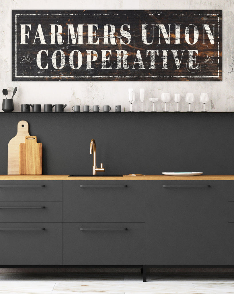 Farmers Union Cooperative Vintage Sign Canvas Wall Art