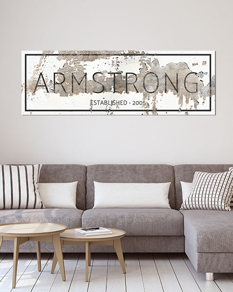Custom Farmhouse Name Sign for Living Room Canvas Art