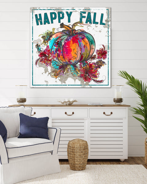 Happy Fall Colorful Pumpkin Canvas Wall Art  - LC65
