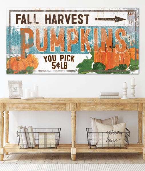 Fall Harvest Pumpkins Vintage Canvas Wall Art - LC54