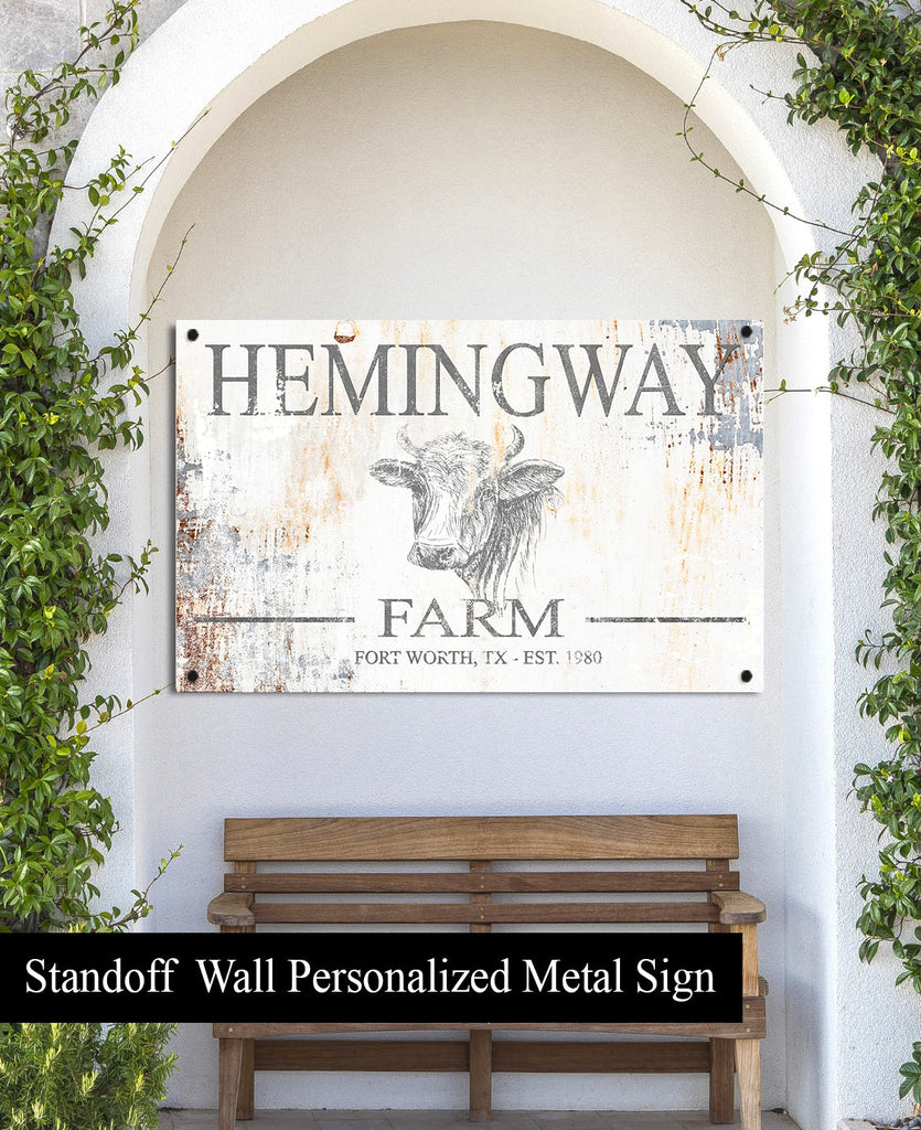 Personalized Outdoor Porch Sign  - Metal Family Last Name Sign for Farmhouse