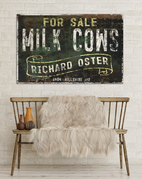 Milk Cows For Sale Vintage Sign - Large Farmhouse Signs Faux Metal Sign