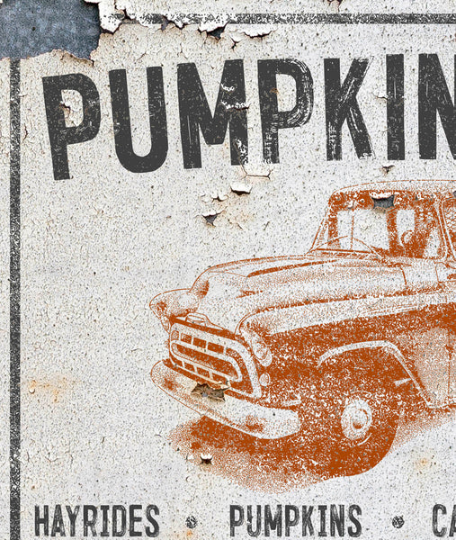 Pumpkin Patch Vintage Truck Farmhouse Canvas Wall Art - LC59