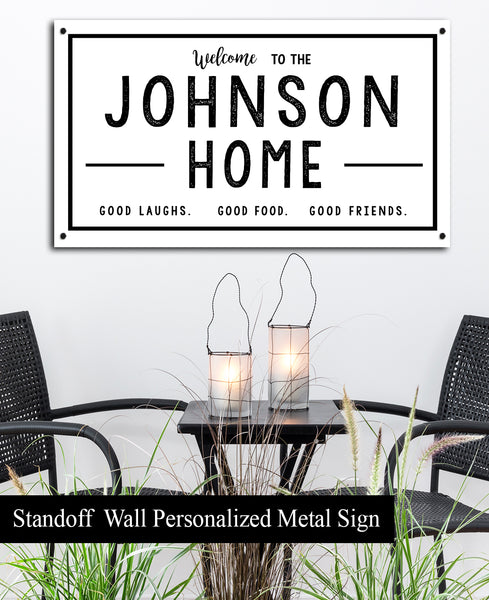 Metal Family Last Name Sign - Personalized Outdoor Sign for Porches