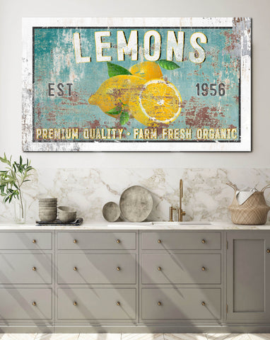 Farmhouse Lemon & Blue Metal Style Wall Art Canvas