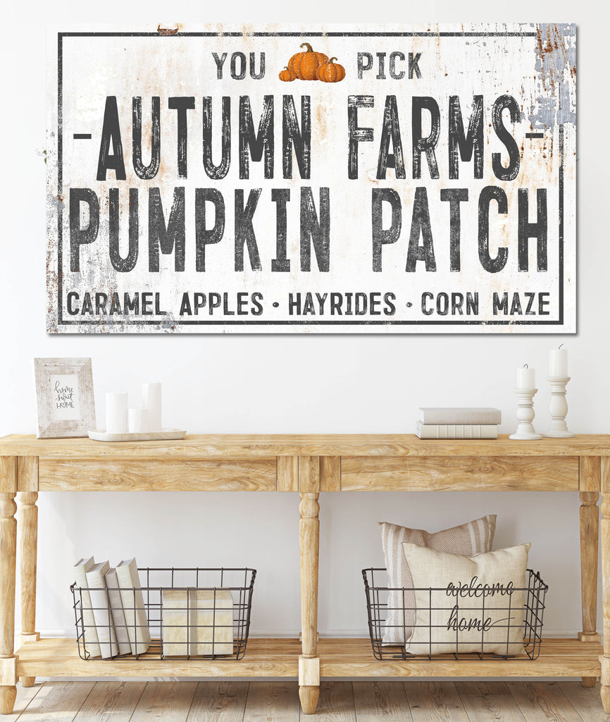 White Autumn Farms Pumpkin Patch Canvas Wall Art - LC60