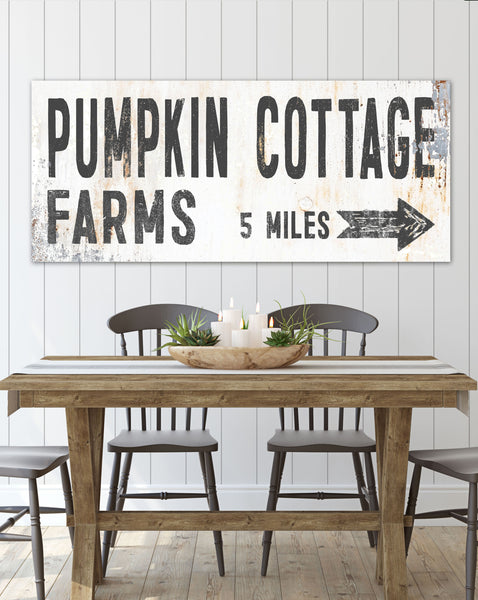 Pumpkin Cottage Farms Wall Art Canvas Print in White - LC58