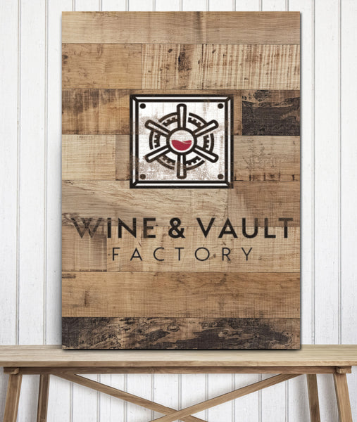 Reclaimed Wood Style Logo to Canvas Wall Art Print - LT22