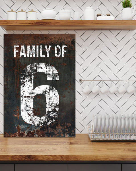 Black Family Number 6 Sign - Farmhouse Decor Wall Art Canvas Print
