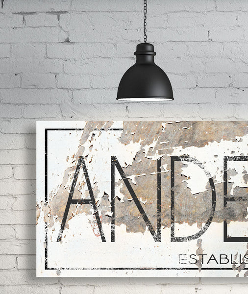 Modern Last Name Sign - Personalized Family Name Wall Art