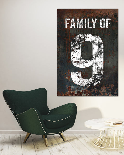 Black Family Number 9 Sign - Home Decor Wall Art Canvas Wall Art