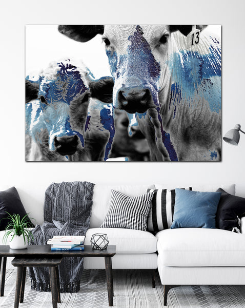 Blue Watercolor Cows Art Farmhouse Decor Canvas Art - LC72