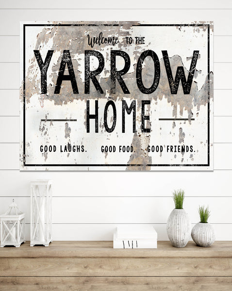 Chippy Welcome Home Personalized Family Name Canvas Wall Art NLSC0222