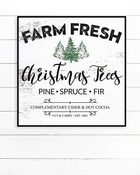 Farm Fresh Christmas Tree Sign - Farmhouse Christmas Wall Art