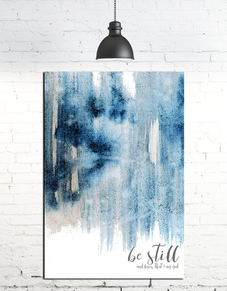 Inspirational Verse Watercolor Be Still Canvas Print