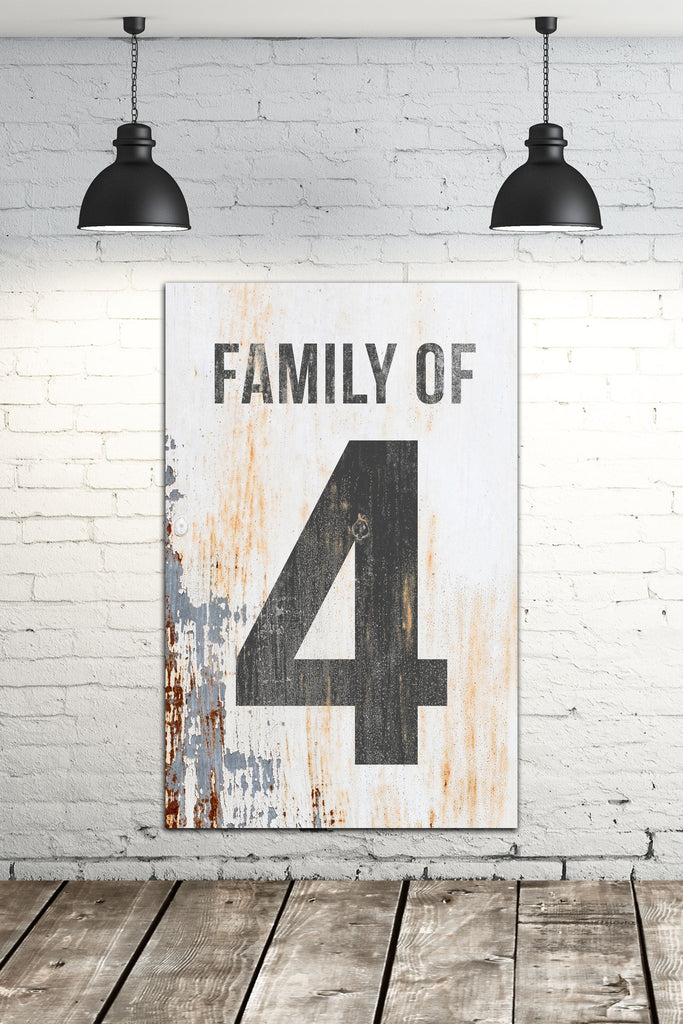 Modern Family Number Sign - Custom Family Number Sign Wall Art