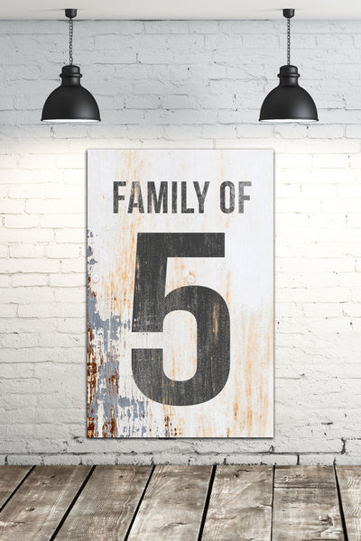 Family of 5 Number Sign - Number Sign Wall Art Farmhouse Decor