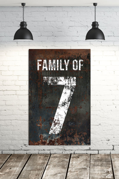 Black Family Number 7 Sign - Home Decor Wall Art Canvas Art